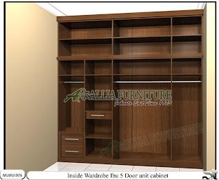 Dalam lemari minimalis baju pengajian model unit cabinet Ibu