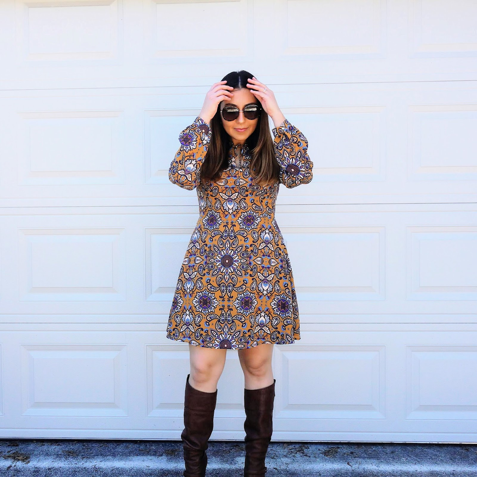 Retro Pattern Print Dress