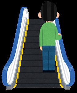 エスカレーターに乗る人のイラスト(右)