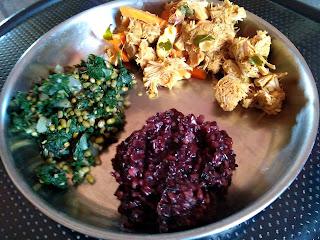Kavuni rice, Ponnaanganni Greens poriyal, Tender jackfruit masala