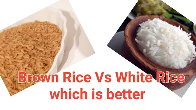 Image of brown rice  and white rice