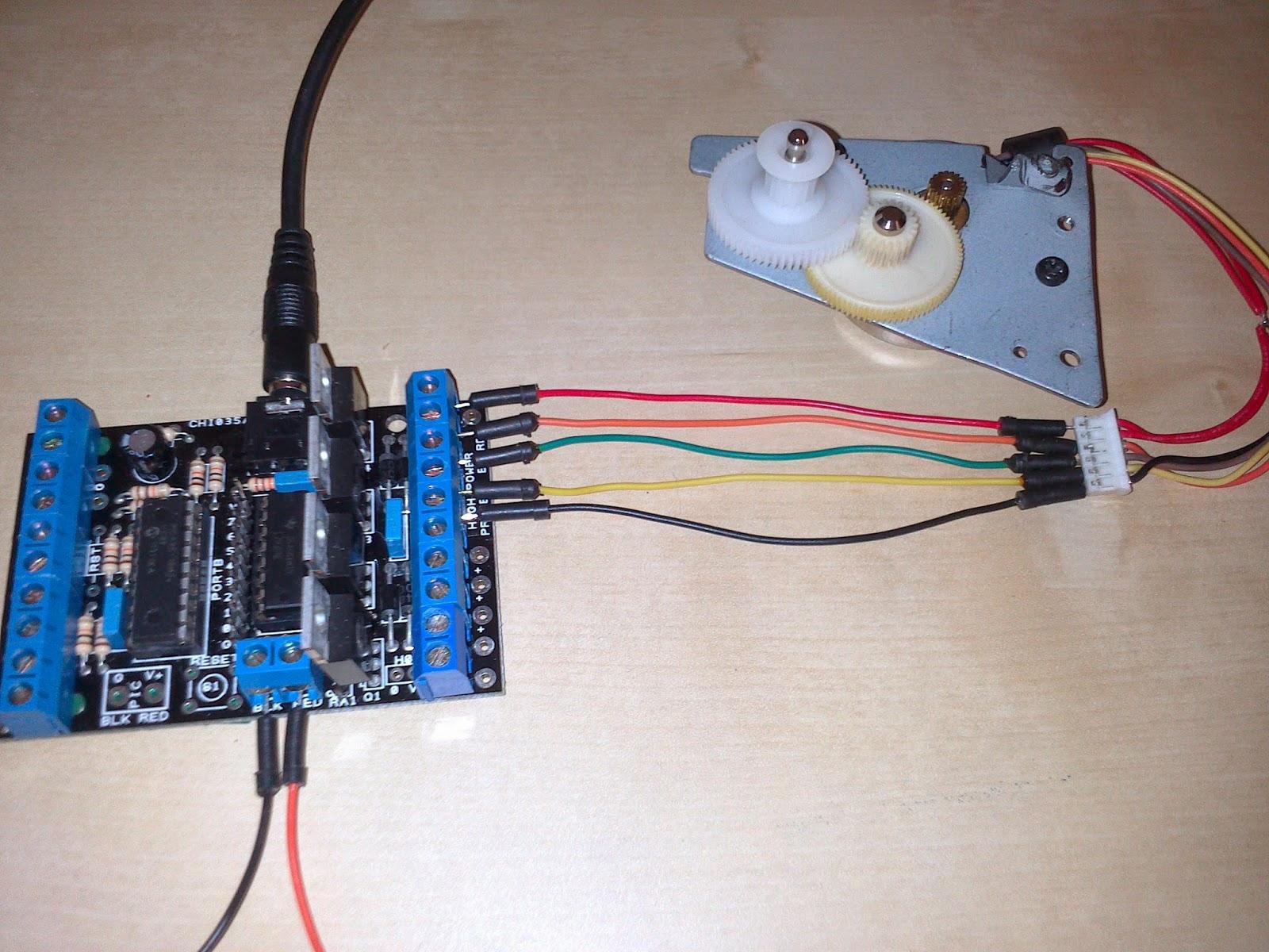 Conexión motor paso a paso a placa picaxe
