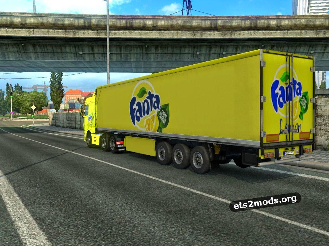 Fanta lemon DAF Euro 6 skin + trailer