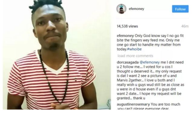 #BBnaija: Efe Sacks Social Media Manager, Addresses Issue Of Unfollowing People On His IG Page (VIDEO)