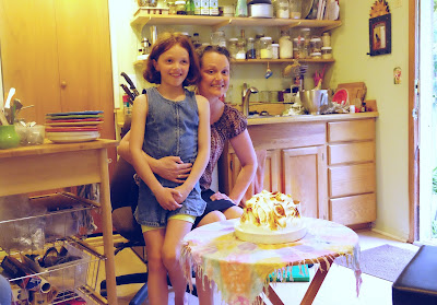 Chelsea and Eva in the cottage with baked Alaska