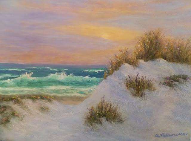 Painting of Coastal Sunset and Beach Dunes