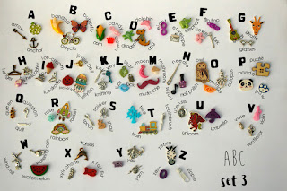 Language objects trinkets for ABC I spy bag, Alphabet I spy bottle