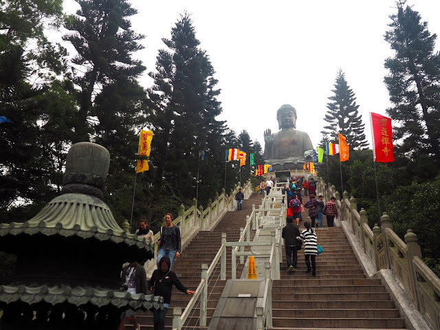 View of Big Buddha/ Tian Tan Buddha from halfway up the stairs, Ngong Ping, Lantau Island, Hong Kong