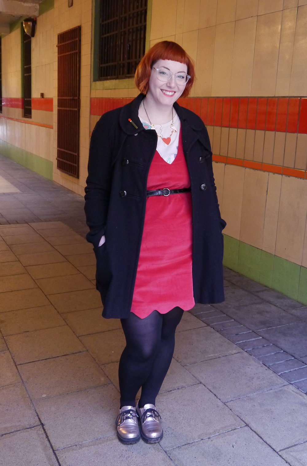Scottish Blogger, Dundee, What Helen Wore, Lou Lou's Vintage Fair, The Whitepepper red dress, vintage saved by the bell style tshirt, Karen Mabon necklace, heart and flamingo necklace, red head