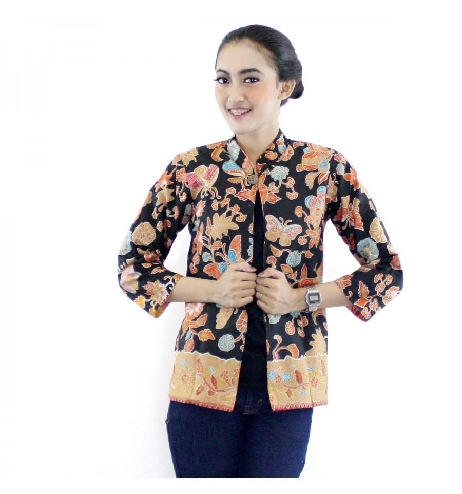 Referensi Model Batik Kerja: 15+ Model Baju Batik Kombinasi Bolero Terbaru 2018