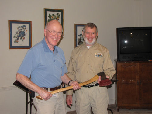 Ed Chappel receiving Trail Maintainer of the Year award from Ed Morse North Country Trail Association 2009