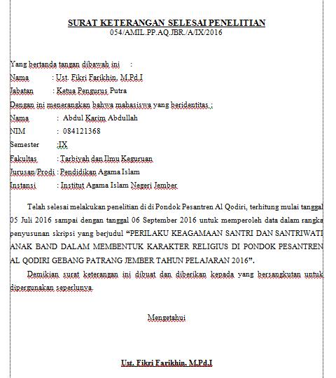 Contoh Surat Keterangan Selesai Penelitian Mr Fah Blog