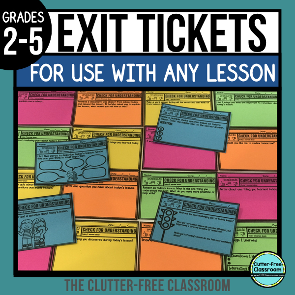 Check out these formative assessments, which go by many names: Exit ticket, exit prompt, exit pass, and exit card. They guide students through assessing their learning from that day and provide meaningful feedback to teachers. Students can work on them independently, with partners, or even in small groups.#clutterfreeclassroom #cfclassroom #exitticket #exitslip #exitprompt #exitpass #exitcard #formativeassessment #elementary #commoncore #firstgrade #1stgrade #secondgrade #2ndgrade #thirdgrade #3rdgrade #fourthgrade #4thgrade #fifthgrade #5thgrade