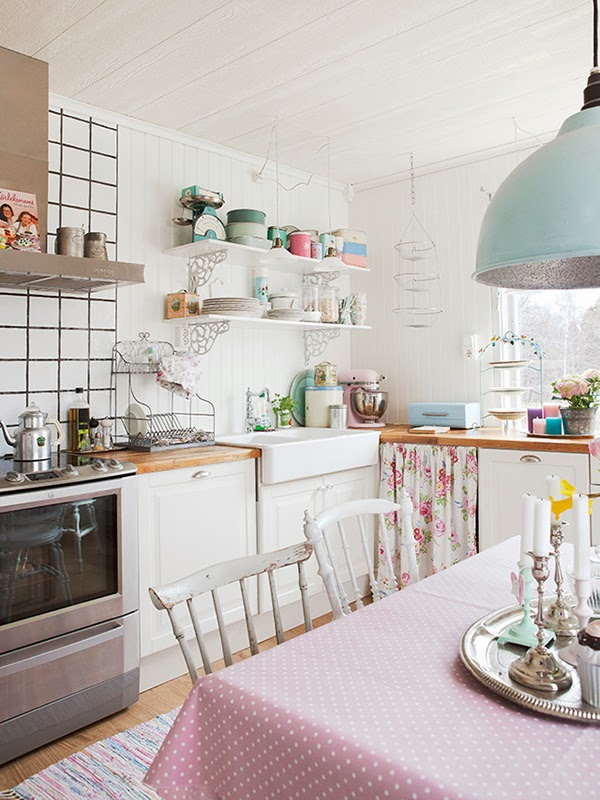 Pretty pastel kitchen - i love the pink kitchen aid and the coffee pot on the stove!