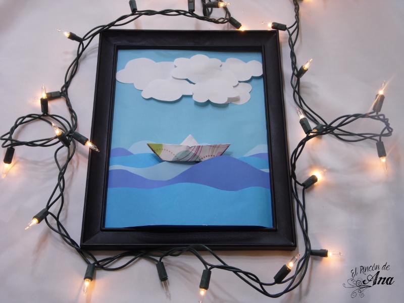 Cuadro decorativo con barcos de papel