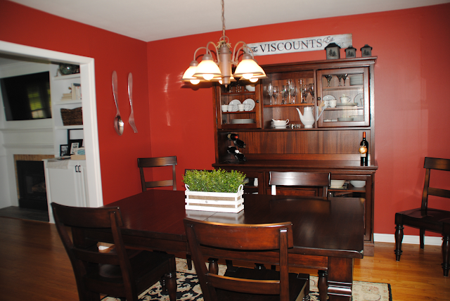 red dining room, makeover, home makeover, red room, pottery barn furniture