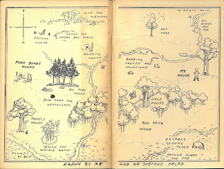 "Map of ""100 Aker Wood"" that appears on the endpapers of the first English edition"