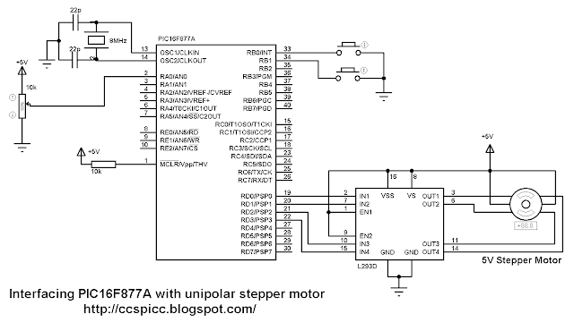 Interfacing PIC16F877A microcontroller with unipolar stepper motor control circuit using L293D CCS PIC C