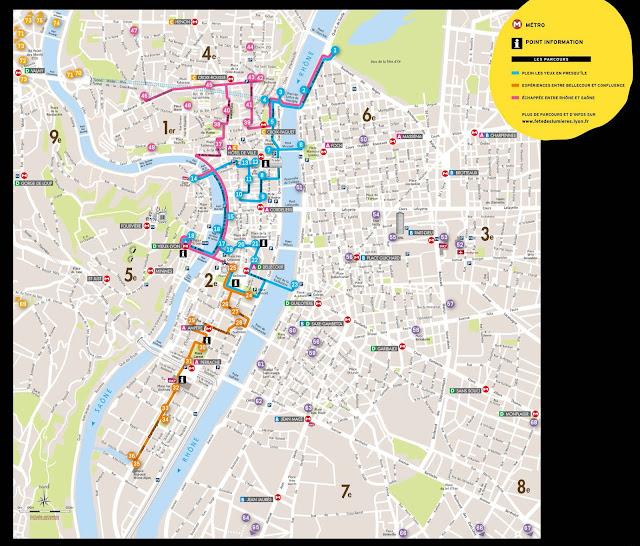Mapa Fête des lumières Lyon - 2014