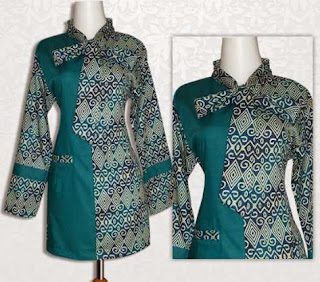 desain baju batik wanita lengan panjang untuk kerja