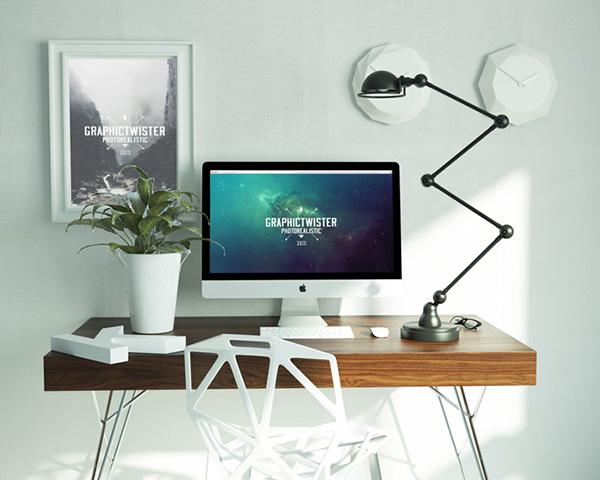 Download Poster Mockup PSD Terbaru Gratis - Workspace Mockup Free PSD