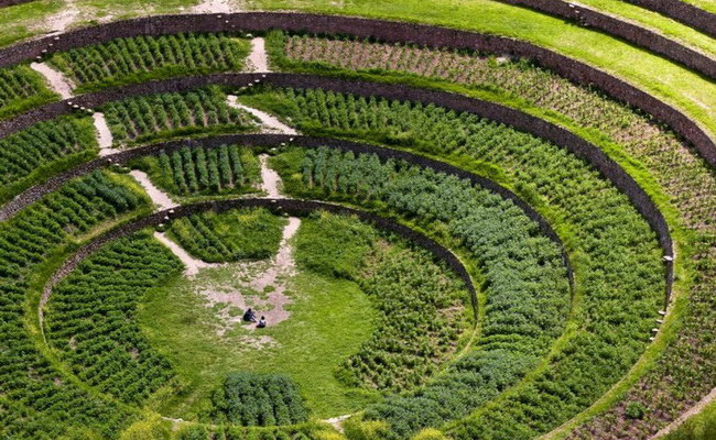 Xvlor Moray is ruins of Inca Empire agricultural laboratory complex