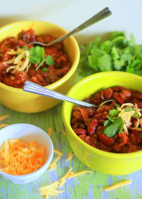 Easy Slow Cooker Three Bean Chili with or without Ground Beef from Kitchen Treaty found on SlowCookerFromScratch.com