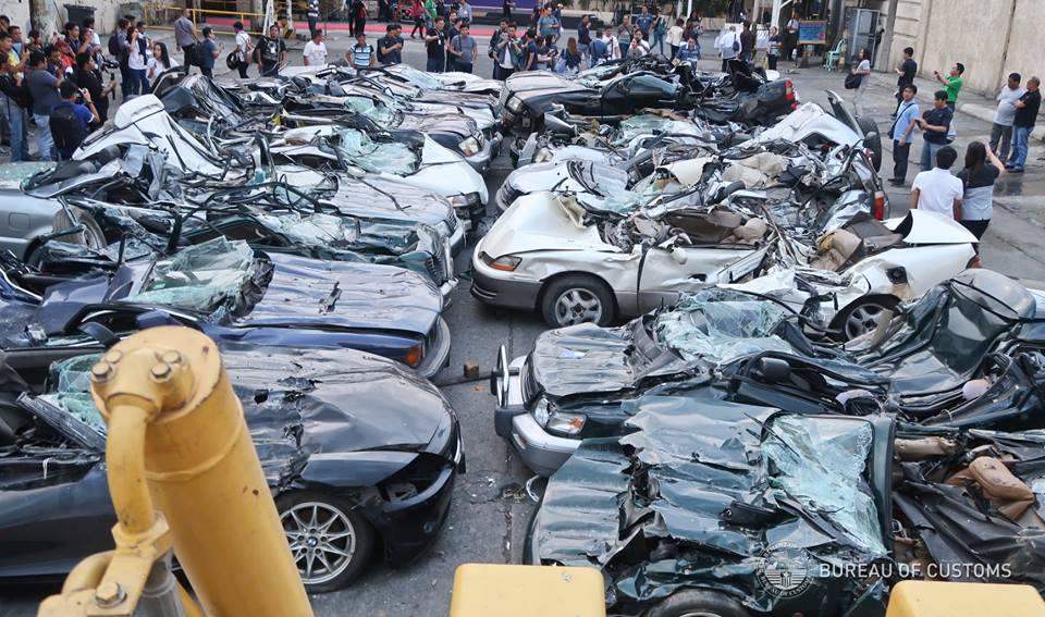 The BoC 'bulldozed'' luxury vehicles worth P61.6 million
