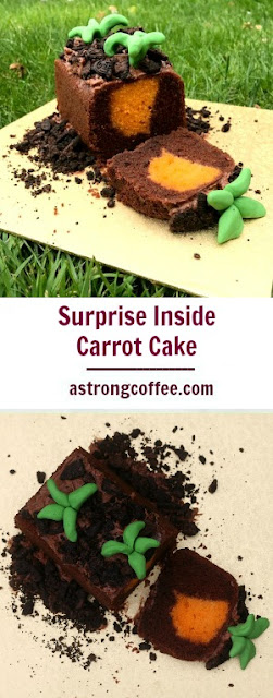This surprise inside carrot cake is the perfect birthday cake for a gardener or make an Easter cake that the Easter bunny would enjoy!