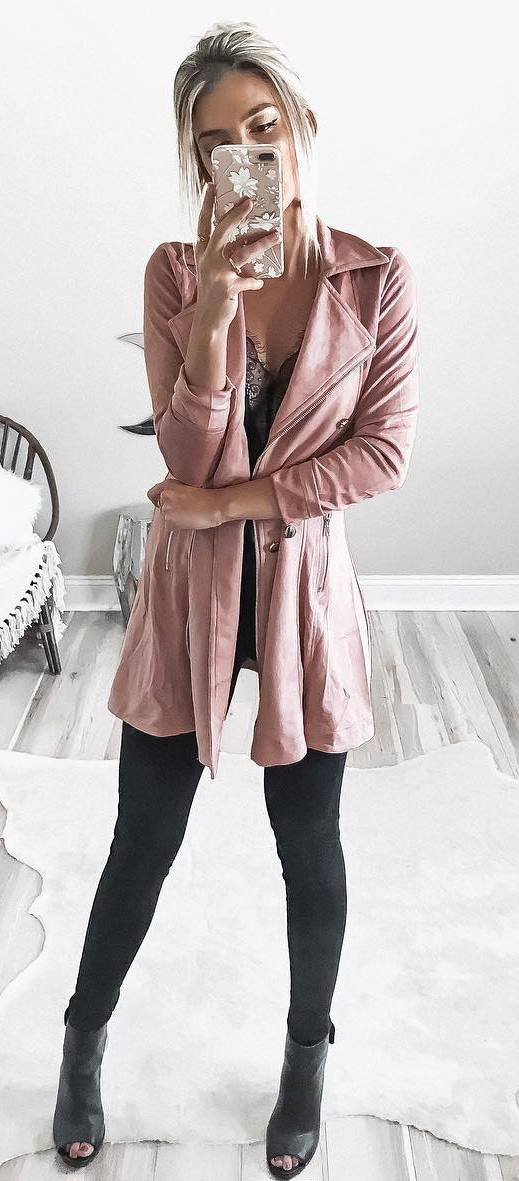 fashionable outfit / pink coat + lace top + skinnies + boots