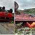 Caminhão carregado de frutas tomba próximo à cidade de Santana de Mangueira, no Vale do Piancó