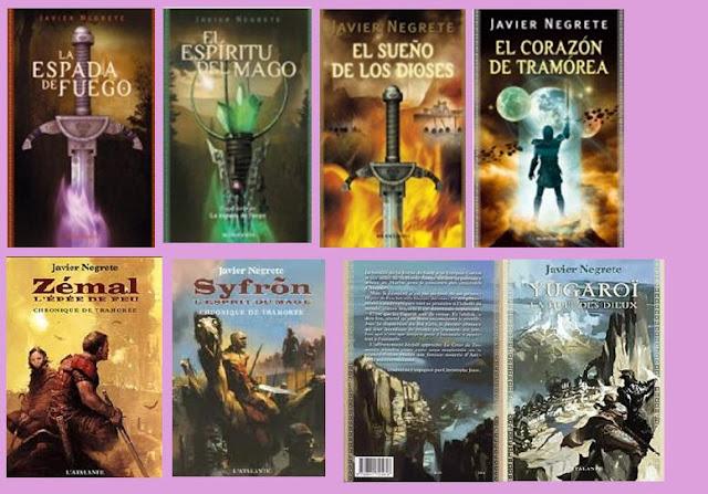 portadas de los libros de fantasía épica de la saga Tramórea, de Javier Negrete