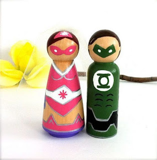 Green Lantern Superhero Wedding Cake Topper