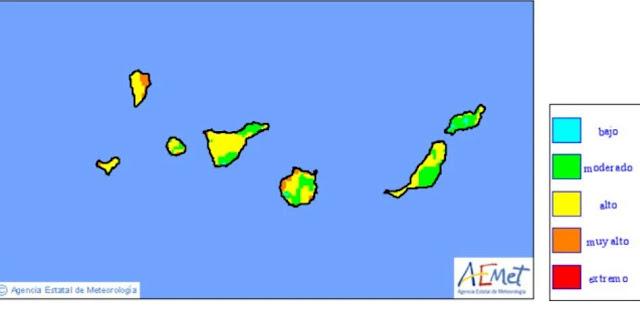 Canarias con riesgos altos por incendios forestales 6 julio Gran Canaria, La Palma el hierro  puntos niveles muy alto
