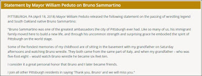 Pittsburgh Mayor's Statement On The Passing Of Bruno Sammartino
