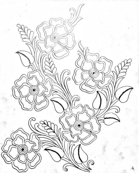 Flower design drawing for hand embroidery/embroideey flowers design