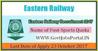 Eastern Railway Recruitment 2017– 21 Sports Quota