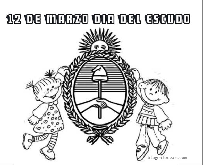 Escudo nacional argentino para colorear, 12 de marzo | Colorear ...