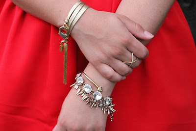 Gold E. Kammeyer Leather Wrap Bracelet and Stack of LE TOTE Bracelets