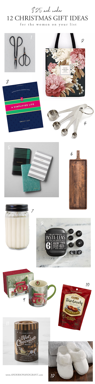Twelve special gifts all under $25 perfect for any of the ladies on your Christmas shopping list.  |  Christmas Gift Guide at www.andersonandgrant.com