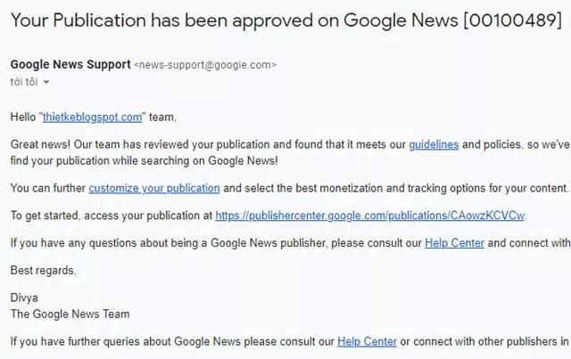 Đăng ký nhà xuất bản Google tin tức cho trang blogspot