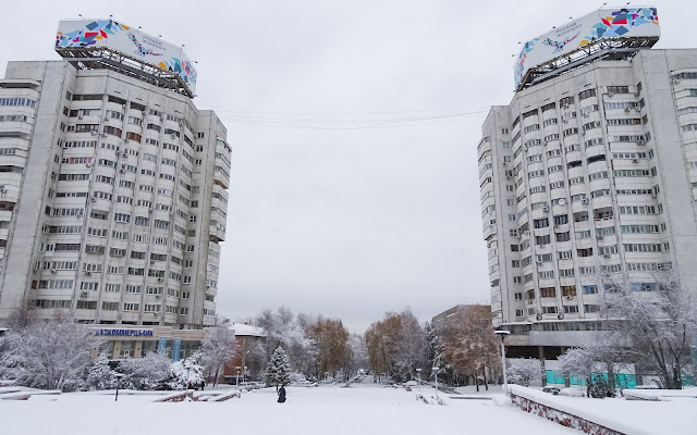 Snow in Almaty at the Revolution Square