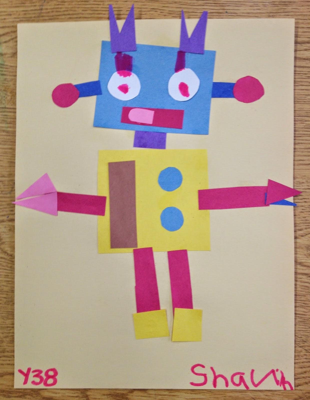 Ms C S Artroom Geometric Robots Art Lesson