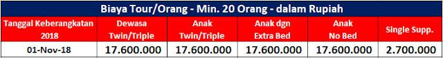 Table Cost Turki 01 Nov 2018 - Paket Tour 10H7M Turki Group Series 01 Nov 2018 by Etihad Airways - Salika Travel