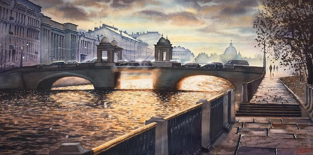 11-Saint-Petersburg-Igor-Dubovoy-Realistic-Urban-Watercolor-Paintings-www-designstack-co