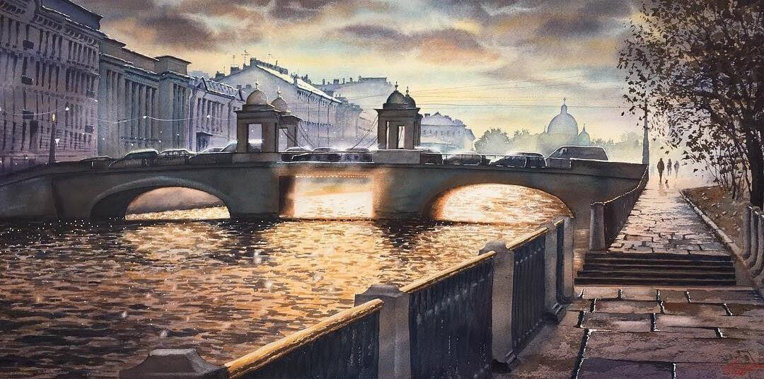 11-Saint-Petersburg-Igor-Dubovoy-Realistic-Urban-Watercolor-Paintings-www-designstack-co