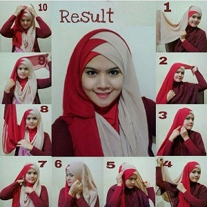 cara memakai hijab dua warna segi empat