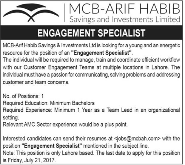 Jobs in MCB Arif Habib Saving and Investments Limited 16 July 2017.