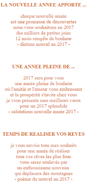 souhaits de bonne année 2017