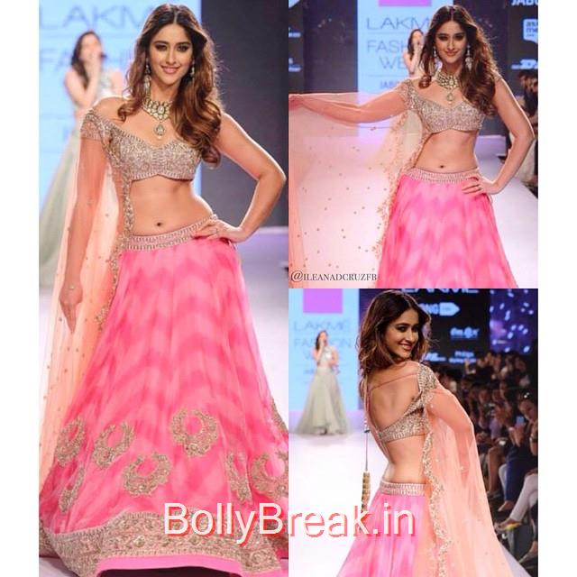 ileana as a showstopper for @anushreereddyofficial. lakme fashion week , day 4. angelic beauty 😍💖 @ileana_official, ILeana DCruz in Anushree Reddy Lehenga Choli at Lakme Fashion Week